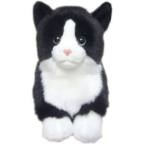 Black and White Top Quality Cuddly toy Cat 12""